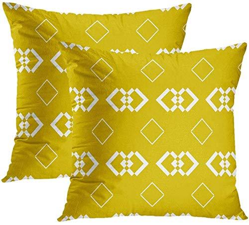 GYC Funda de cojín Vintage, Dorado Adornado, Antiguo Art Nouveau, Barroco, en Blanco, Brillante,...