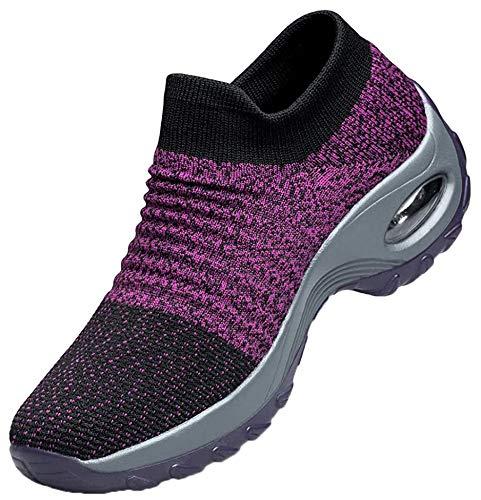 [Biokosca] スニーカー レディース ウォーキングシューズ ナースシューズエアクッション ウォーキング 厚底 身長アップ5CM 船型底ナースシューズ 作業靴 看護師 婦人靴 矯正靴軽量 通気-パープル25.5 cm