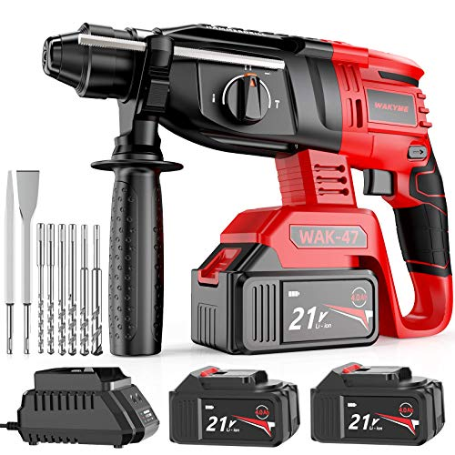 Rotary Hammer Drill, WAKYME SDS-Plus 1/2 inch 21V Cordless Demolition Hammer with 1400RPM and Two 4.0Ah Batteries, Variable Speed, 3-in-1 Mode Brushless Impact Drill with Safety Clutch, 13 Pieces Set