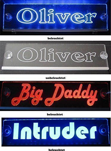 camionneur LKW namens BOUCLIER TAILLE 40x10 cm - LED Acrylique panneau lumineux 12v 24v avec NOBLE GRAVURE AU LASER