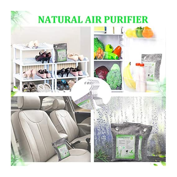 Activated Bamboo Charcoal Bags, Natural Air Purifying Fresheners,Moisture Remove for Home, Car, Closet, Bathroom (8 x… 6 NATURAL AIR PURIFIER-->>100% activated bamboo charcoal contains millions of tiny porous holes that naturally absorb and eliminate odors. This makes bamboo charcoal the perfect natural air freshener and odor remover. SAFE-->>Our activated charcoal air purifier bags are safe and effective, which has no fragrance or chemicals. They can purify your space air in the most natural, 100% safe way! It absorbs moisture and unpleasant odors like a sponge. These natural bamboo charcoal deodorizers are sure to be safe and you can leave it around your pets and your children while no worry for any incidents that might jeopardize their health. WIDE APPLICATIONS-->>The bamboo activated charcoal odor absorber bags has deodorizing and dehumidifying functions and which makes them work efficiently at any time and any place. It can be used in car,gym bag,smelly shoes,pet areas,bedroom,bathroom and fridge. Put the activated charcoal bag in these places, and it can absorb moisture or stink smell quickly and keep air fresh.