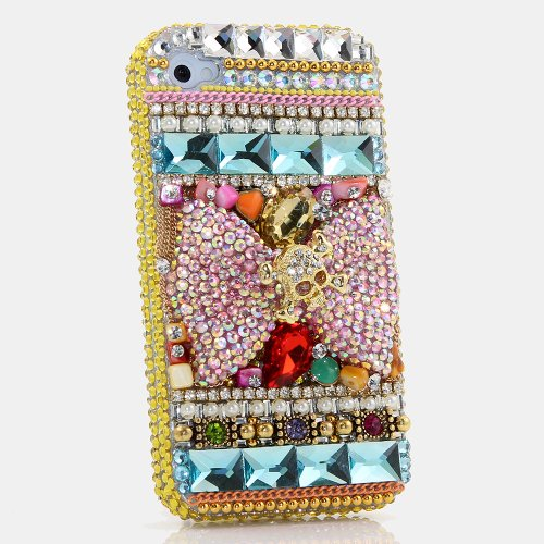 iPhone 6S Plus Bling Case, iPhone 6 Plus Case - LUXADDICTION [Premium Quality] 3D Handmade Crystallized Bling Case Easy Grip Crystals Diamond Sparkle Large Pink Bow Colorful Background Design Cover