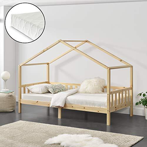 Kinderbett mit Matratze und Stauraum 90 x 200 cm Hausbett mit Kaltschaummatratze...