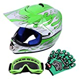 Samger DOT Youth Niños Fuera del Casco de Motocross Dirt Bike Casco con Guantes Gafas(Verde,M)