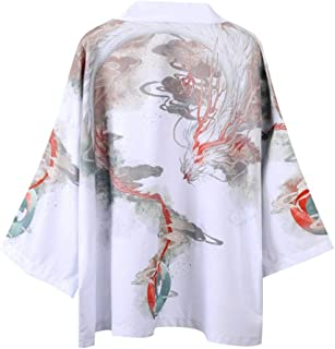 Japanese Retro Robe Hanfu Seven-point Sleeve Shirt Men And Women With The Same Fashion Jacket Hyococ (Color : 1, Size : XXL)