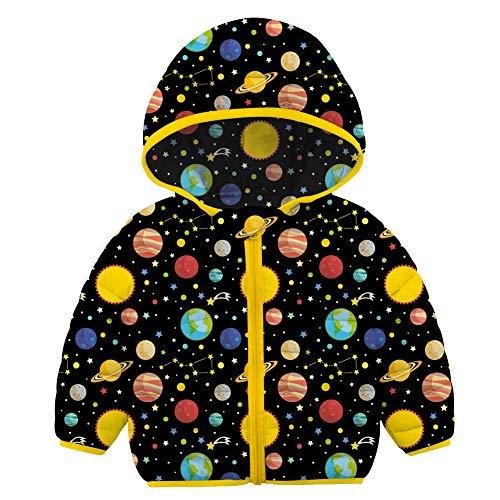Abrigo de Invierno para bebés y niñas, niños cálidos para niños pequeños, Chaqueta Simple, Prendas de Vestir, Sudadera con Capucha, otoño para 2-3 años, Planeta Negro