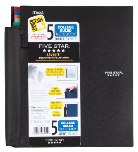 Five Star Notebook, 5-Subject, College Ruled, 200 Sheets, 8-1/2 x 11 Inches, Assorted (8192) Photo #3