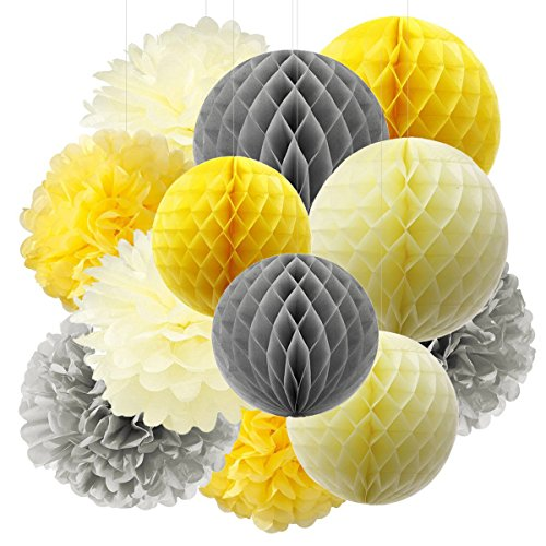 Furuix Tissue Paper Pom Pom Yellow Grey Cream Tissue Paper Honeycomb Balls Paper Lanterns for Bridal Shower Birthday Decorations/Wedding Party Decor You are My Sunshine Baby Shower Decorations