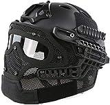 Casque PJ Fast Airsoft Paintball Protection Casque Multicam Intégral ABS Masque CS Tactique avec Lunettes, Tir au Paintball CS, Chasse, Cyclisme, Moto, Sports de Plein Air