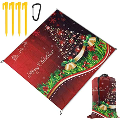 WINCAN foldable Picnic Blanket 145x150cm,Tree Snowflakes Gold Bells,Outdoor Beach Blankets Waterproof Sandproof Portable Mat for Hiking,Camping,Family Day Out,Travel