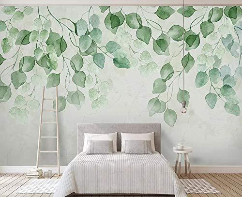 Tapete 3D Fototapete 3D Effekt Frische Grüne Blätter Aquarell Gemalt Tapeten 3D Vliestapete Moderne Wandbilder Wanddeko - 350x256cm
