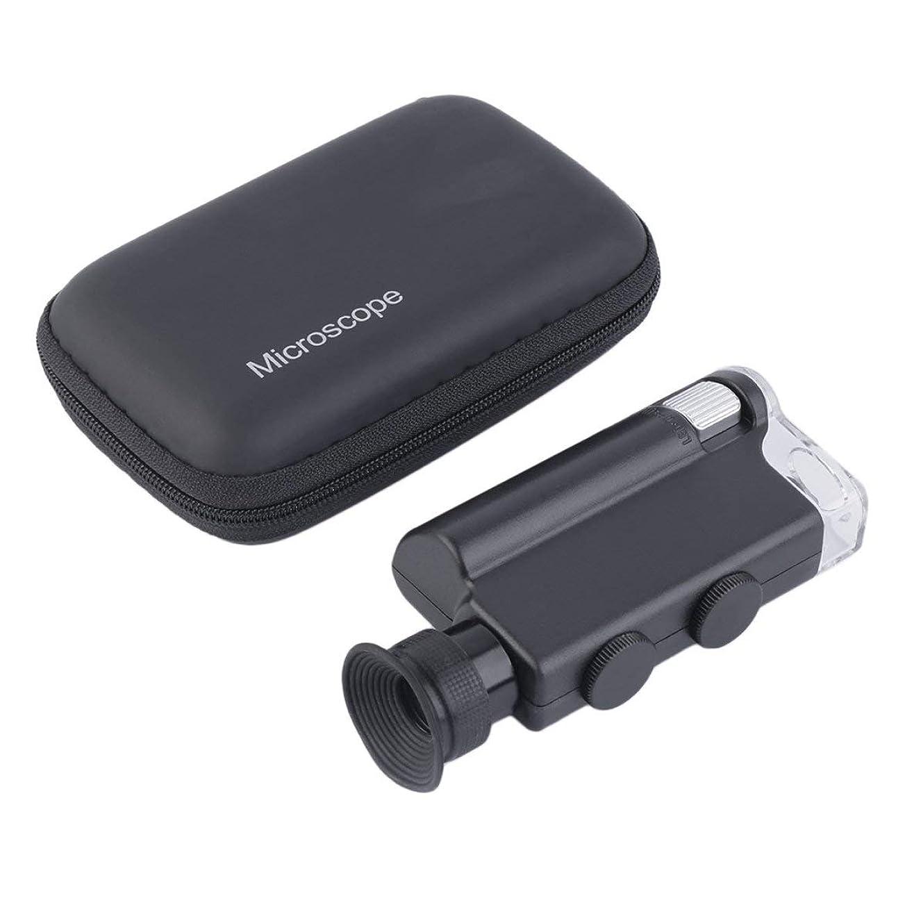 サスペンション煙突社交的新しいミニポータブル顕微鏡ポケット200X?240XハンドヘルドLEDランプライトルーペズーム拡大鏡拡大鏡ポケットレンズ-ブラック