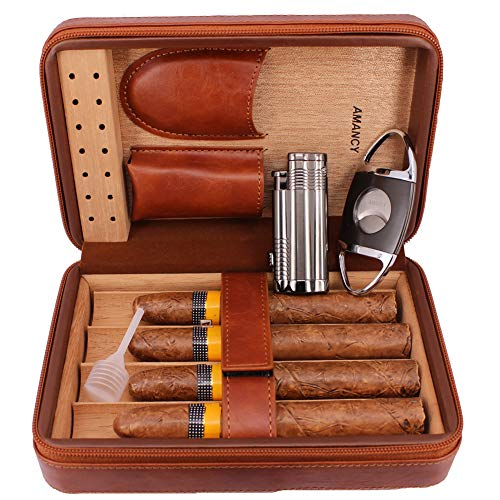 AMANCY Elegent Handmade Brown Leather Cedar Wood Lined 4 Cigar Humidor Case with 3 Triple Jet Flame Cigar Lighter and Cutter,Suitable for Holding Big and Fat Cigars