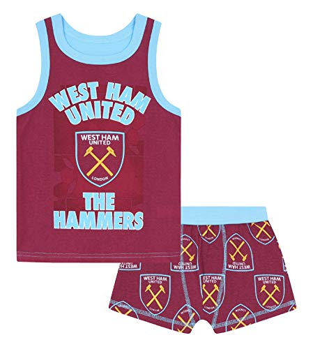 West Ham United FC Official Football Gift Boys Boxer Shorts & Vest Set 6-7 Years Claret