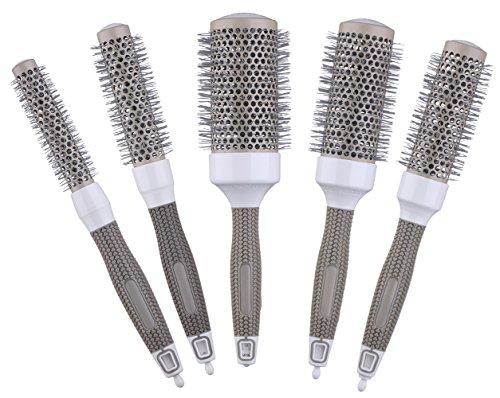 Brosse ronde thermique en céramique pour le séchage, le frisage et le coiffage, kit de 5 tailles (1 kit = 5 brosses de différentes tailles)