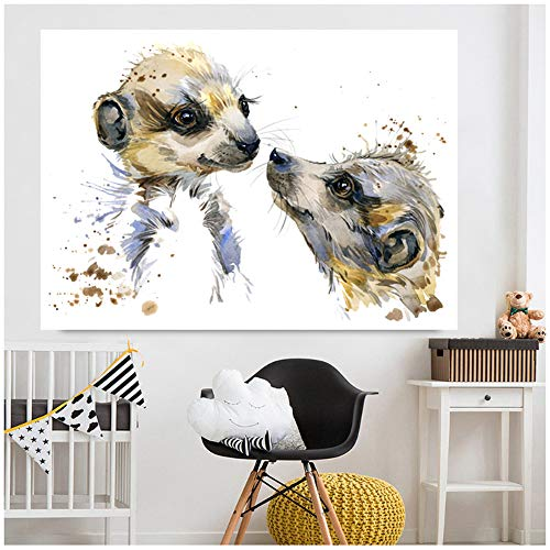 XIANGPEIFBH Canvas Painting Art mother and son small Meerkat Animal HD Printed Modern Wall Poster Living Room Home Decoration 30x50 cm/11.8' x 19.7' No Frame