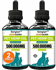 (2 Pack) Hemp Oil for Dogs and Cats - Natural Calming Support - Helps Reduce Discomfort, Stress and Anxiety - 500,000 MG Pure Pet Hemp Oil that Assists Immunity, Hip and Joint Health - Made in the USA