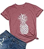 Women's Summer Pineapple Printed T Shirt Casual Short Sleeve Tops Girls Graphic Tees Size L (Red)