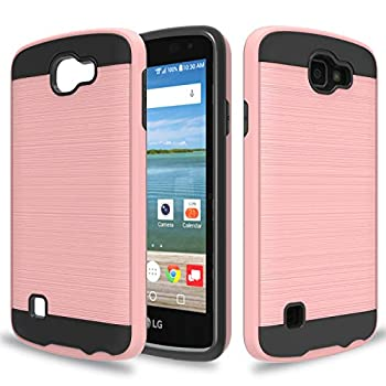 Wtiaw Compatible with LG Optimus Zone 3 Case,LG Spree Case,LG Rebel LTE Case,LG K4 Case 2016 ,LG K4 Gray Case,LG Optimus Zone 3 VS425PP/K4 LTE Case,Brushed Metal Texture Case for LG K4-CL Rose Gold