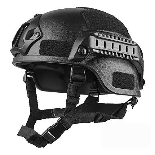 Romote Airsoft Helm Tactical Schutzhelm Military Tactical Helm Tactical Armee-Kampf-kopfschutz Mit Nvg Einfassung Und Seitenholm Für Airsoft Paintball-Jagd-schießen (schwarz)