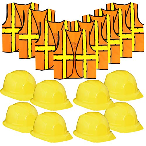 Construction Worker Costume - Hard-Hat and Vest Dress-Up Role Play for Kids - Set of 8