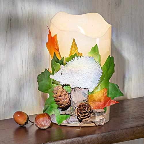 Holzdrehteile LED Echtwachskerze mit Igel Herbst Dekokerze Kerze Tischdeko Fensterdeko