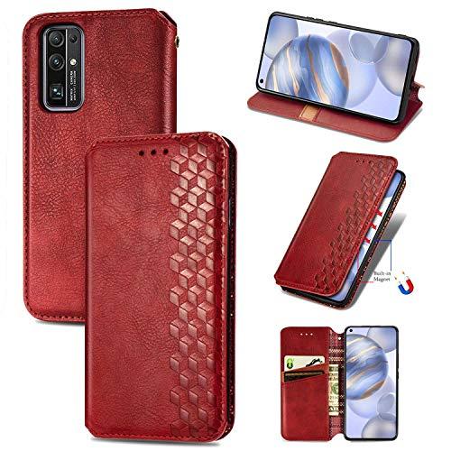 Bear Village Hülle für Huawei Honor 30, PU Leder Flip Handyhülle für Huawei Honor 30, Brieftasche Schutzhülle mit Standfunktion & Kartenfächer, Rot