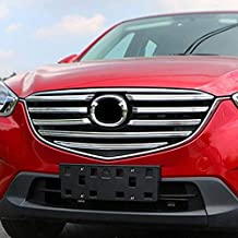 AUTOXBERT Fits for Mazda Cx-5 Cx5 KE 2015 2016 Chrome Front Mesh Grille Grill Cover Trim Bonnet Molding Guard Protector Decoration Car Styling