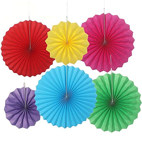 guiyan 6 Pcs Hanging Paper Fan Set Party Decor Supplies Birthday Halloween Christmas Outdoor Decoration (Mix Color-1)