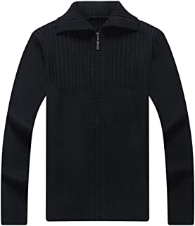 GDJGTA Cardigan for Mens New Solid Color Knitted Cardigan Sweater Coat Warm Sweaters