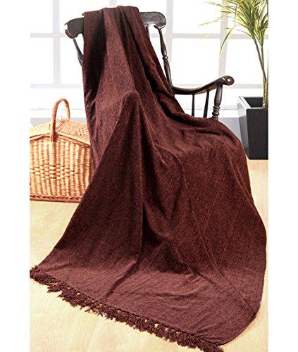 EHC Tagesdecke, 125x 150cm, einfarbiger Chenille-Überwurf Schokoladenbraun