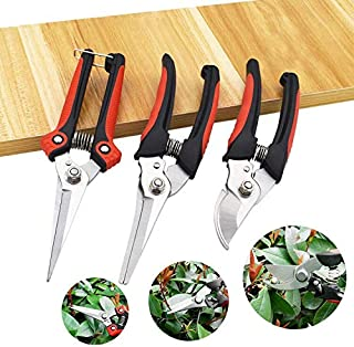 Zwini Pruning Shears Set of 3 Secateurs Safety Lock Gardening Hand Pruning Tool Less Effort Ergonomic Comfort Bypass Garde...