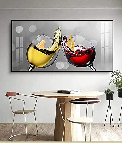 SXXRZA Obras de Arte Pintura Impresiones y Carteles Copa de Vino Abstracta Comedor y Cocina Decoración Moderna del hogar Cuadro de Arte de Pared 60x120cm Sin Marco