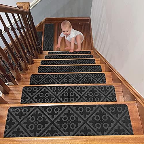 NEWOSTER Lot de 14 Tapis de marches d'escalier antidérapants - 76,2 x 20,3 cm