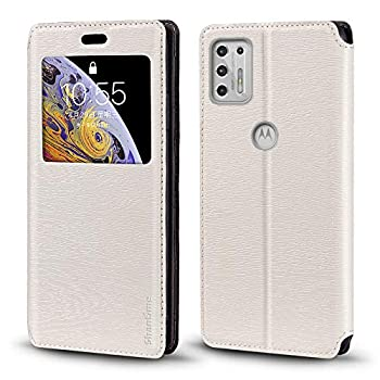 Motorola Moto G Stylus 2021 Case Wood Grain Leather Case with Card Holder and Window Magnetic Flip Cover for Motorola Moto G Stylus 2021
