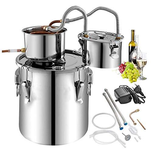 Todavía alcohol ilegal Distiller, tubo de acero inoxidable de 20 litros de agua Destilador de cobre con la bomba de circulación Home Brewing Kit de construcción, en el termómetro de bricolaje Whisky V