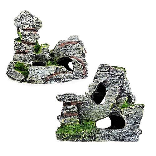 HPiano 2pcs Arredo per Acquario, Acquario Grotta di Resina Acquario Rock Cave con Green Grass per Pesce gamberetti Nascondere Ornamento Simulazione per Acquario Paesaggistica Decorazione