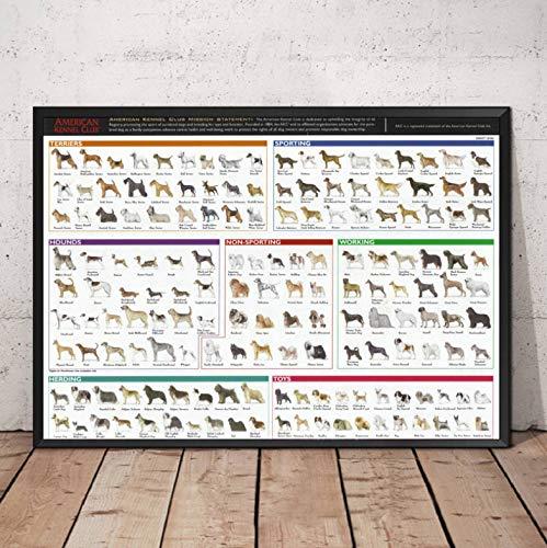 QINGRENJIE Geschenk Classic Collage Hunderassen Das Diagramm Hund Tier Malerei Poster Druck Wandkunst Leinwand Bild Wohnzimmer Wohnzimmer Dekor 42 * 60 cm ohne Rahmen