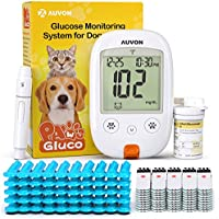 AUVON Blood Glucose Monitor Specifically Calibrated for Dog and Cats with 50 Test Strips
