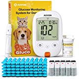 AUVON Blood Glucose Monitor Specifically Calibrated for Dog and Cats, High-Tech Veterinary Animal-Specific Blood Sugar Test Kit with 50 Test Strips, 50 30G Lancets, Lancing Device and Carrying Bag