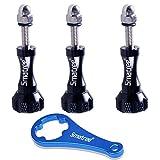 Smatree 3 pcs Lange Aluminium Rändelschraube Set mit Schlüssel für GoPro Hero 8/7/6/5/4/3/2/1...