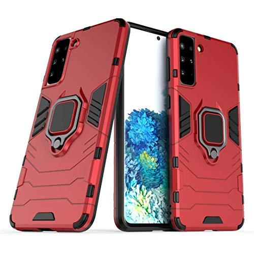 BAIDIYU para Xiaomi Redmi Note 8 2021 Funda, Absorción de Golpes, Soporte, Resistencia a caídas, Diseño de Doble Capa de TPU + PC, Fundas para Xiaomi Redmi Note 8 2021.(Rojo)