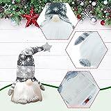 wojonifuiliy Leuchtender Weihnachts-Wichtelpaar Weihnachten Deko Wichtel für die Weihnachtsdeko, Weihnachtsmann Santa Gnom Dwarf Schwedische Tischdeko für Familie Weihnachtsdekoration (Grau) - 5