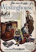 メタルサイン ティンサイン 1948年 ウェスティングハウス ラジオ 蓄音機 ヴィンテージ レトロ 家の装飾 アート 壁の装飾 品質 アルミニウム (1個セット)