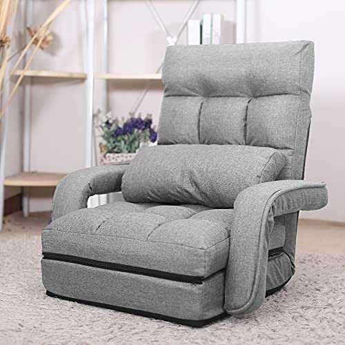 WAYTRIM Indoor Chaise Lounge Sofa, Folding Lazy Sofa Floor Chair 6-Position Folding Padded, Lounger Bed with Armrests and a Pillow Chaise Couch - Gray