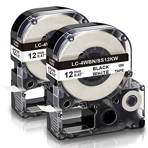 """Absonic Compatible Label Tape Replacement for LK-4WBN LC-4WBN LC 4WBN9 SS12KW 12mm Cartridge for Epson LabelWorks LW-300 LW-400 LW-500 LW-600P LW-700 Label Maker, Black on White, 1/2"""" x 26', 2-Pack"""