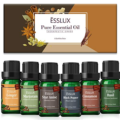Aceites Esenciales Naturales, ESSLUX Spicy Aceites Esenciales para Humidificador Difusor Puro, Pimienta Negra, Canela, Mejorana, Jengibre, Anís estrellado, Albahaca, 6x10 ml