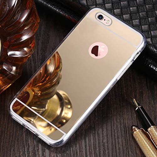 Shinyzone Miroir Placage Étui pour iPhone 5S/iPhone 5/iPhone Se,Maquillage Miroir de Caoutchouc Souple [Technologie de Galvanoplastie] Coque Arrière Réfléchissante-Or