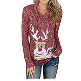 U/A Jersey de Navidad para mujer, cuello alto, manga larga, impresión de nieve, parte superior recta Rojo rosso S