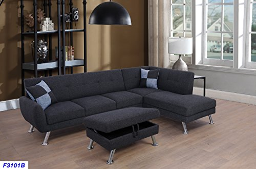 Beverly Fine Furniture Sectional Sofa, Charcoal Grey